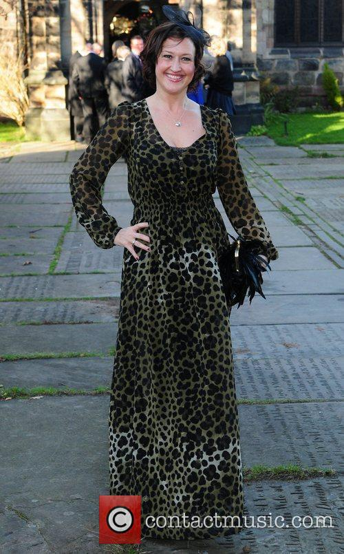 Angela Lonsdale arrives for the wedding of Simon...