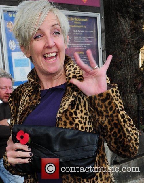 Julie Hesmondalgh arrives for the wedding of Simon...