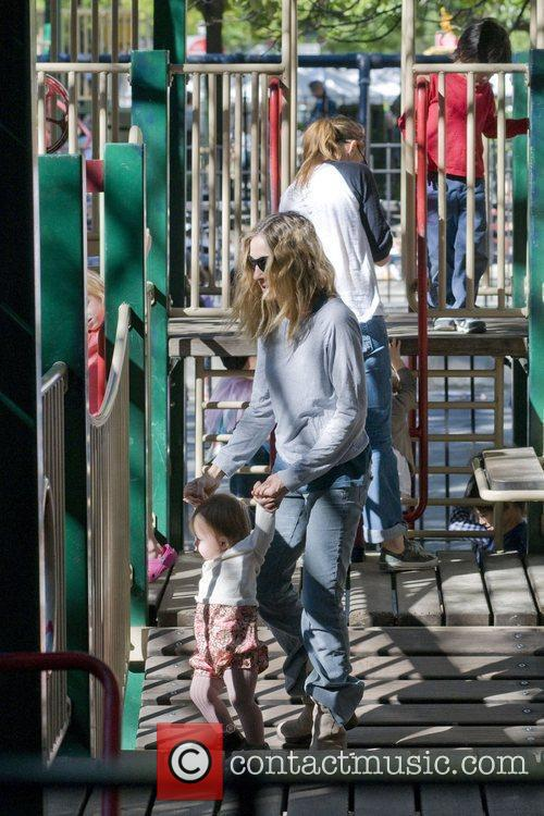 Sarah Jessica Parker with one of her daughters...