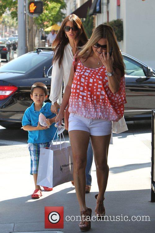 Sofia Vergara (C) seen shopping in Beverly Hills...