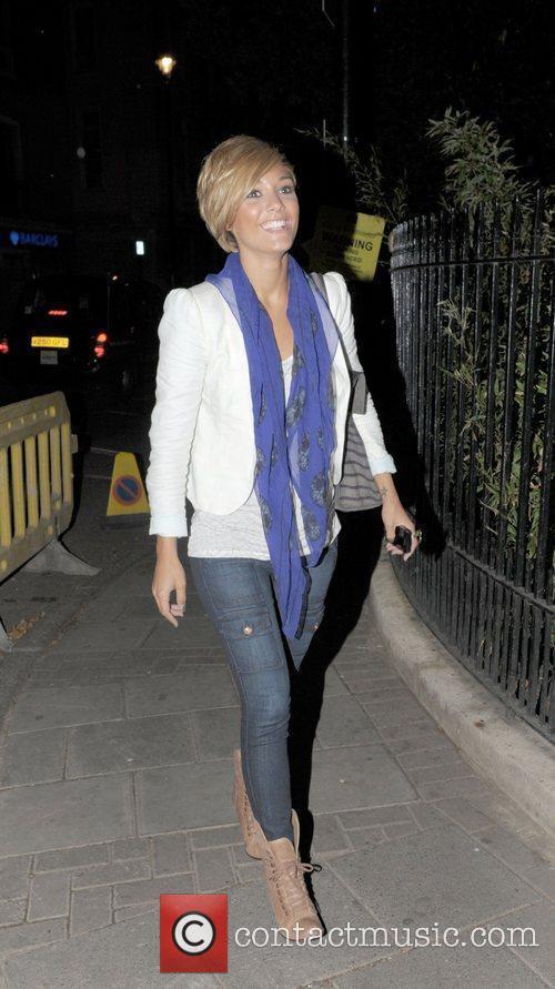 Frankie Sandford of The Saturdays leaving Soho House