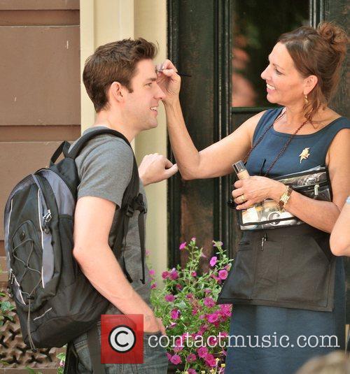 John Krasinksi filming on the set of her...