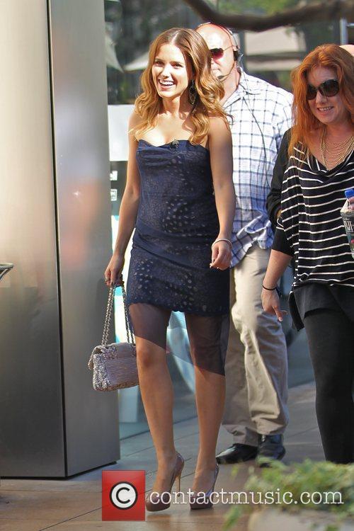 Sophia Bush  is seen filming an interview...