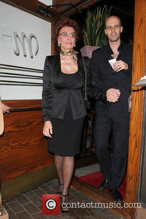 Sophia Loren leaving Madeo restaurant in West Hollywood...