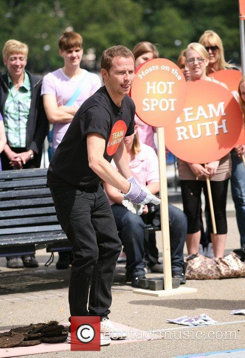 Joe Swash filming This Morning on the South...