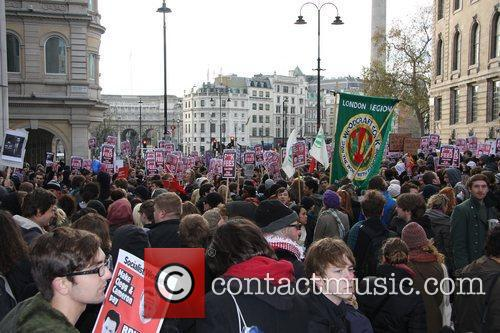Students protest in Westminster prior to the MP...
