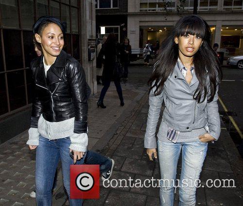 Amelle Berrabah and Jade Ewan The Sugababes outside...
