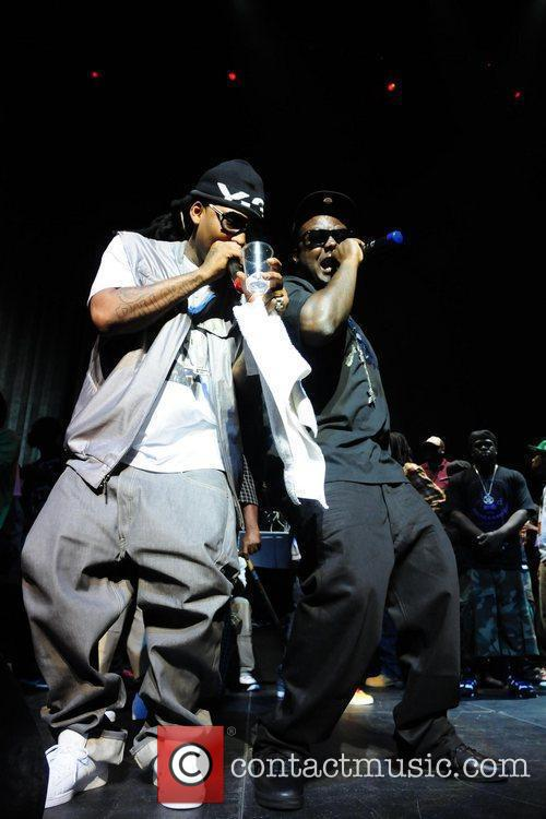 Rapper Ballgreezy and Billy Blue performs during the...