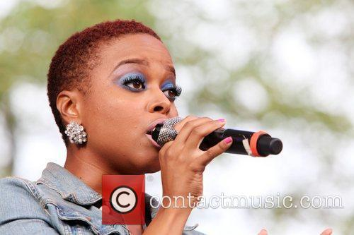 Chrisette Michelle performing live at 2010 Summerstage at...