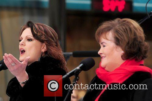 Amber Stassi and Susan Boyle performing live at...