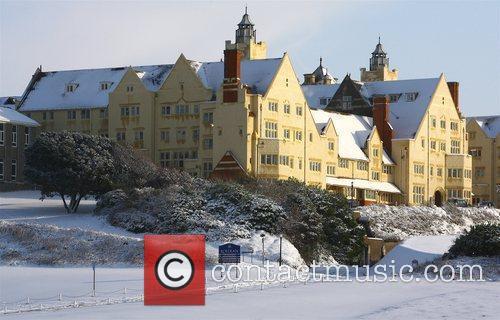 Snow settles around Roedean School Sussex, England