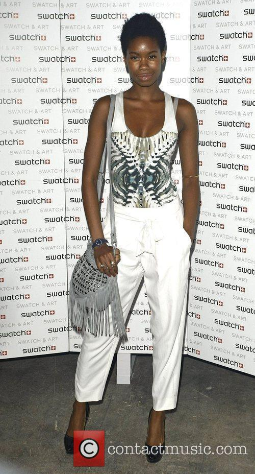 Tolula Adeyemi attends the Swatch Art Party held...