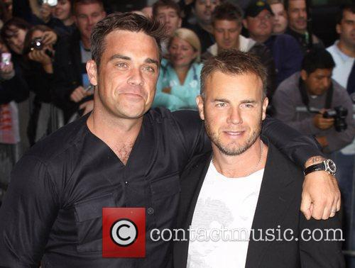 Take That, Chris Moyles, Gary Barlow and Robbie Williams 20