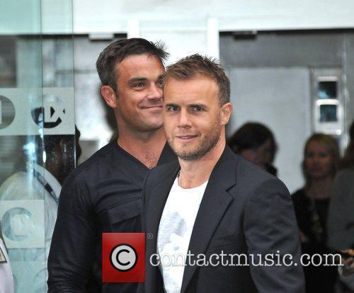 Take That, Chris Moyles, Gary Barlow and Robbie Williams 30