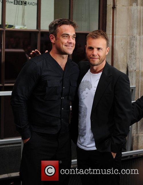 Take That, Chris Moyles, Gary Barlow and Robbie Williams 40