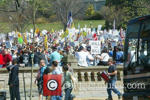 Around 1,500 to 2,000 Tea Party protesters gather...