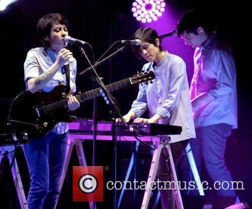 Indie rock duo Tegan and Sara performing live...