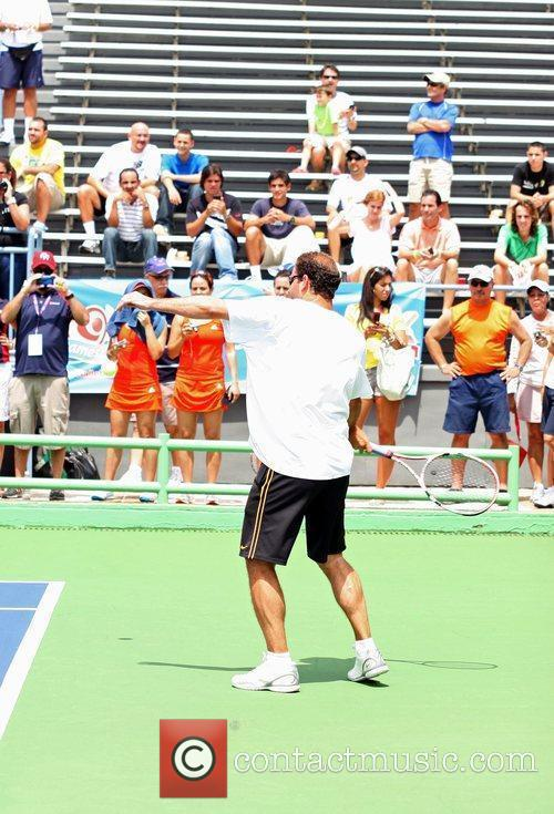 Tennis pros Andre Agassi and Pete Sampras open...