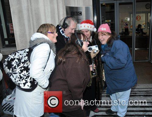 Fans gather outside the BBC Radio 2 studios...