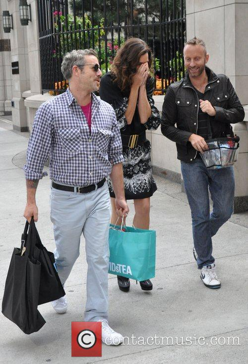 Minnie Driver out and about with her entourage...