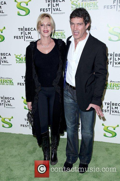 Melanie Griffith and Antonio Banderas Premiere of 'Shrek...