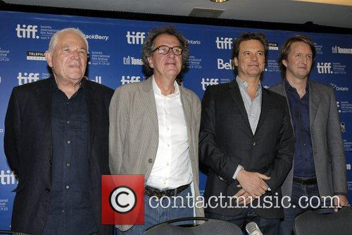 David Seidler, Geoffrey Rush, Colin Firth, and Tom...