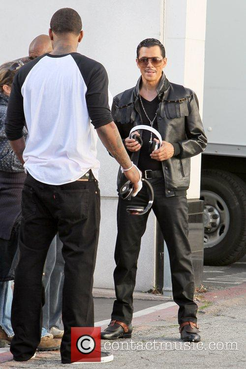 Game aka Jayceon Terrell Taylor (Left) Rapper filming...