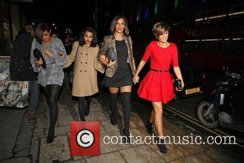 Vanessa White, Rochelle Wiseman and Frankie Sandford leaving...