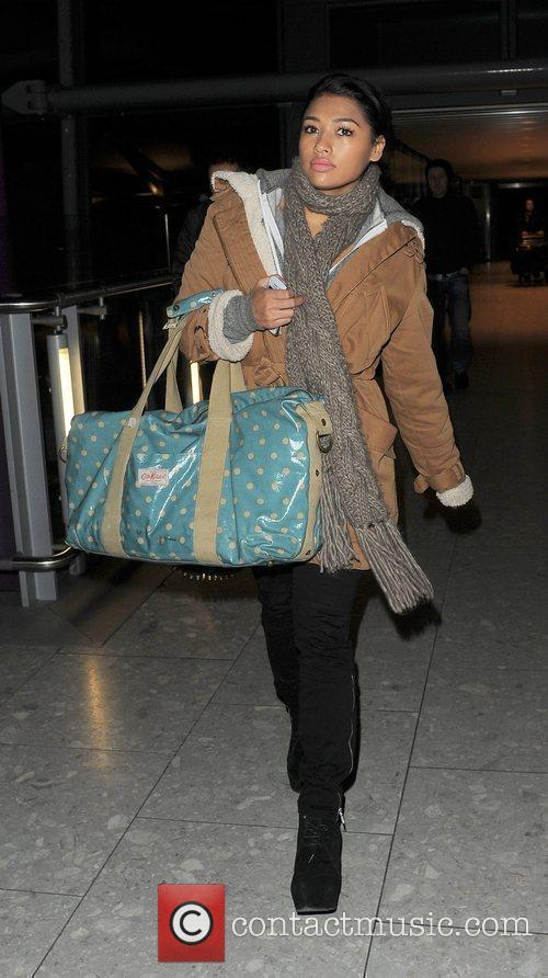 Vanessa White from girl group The Saturdays arrives...