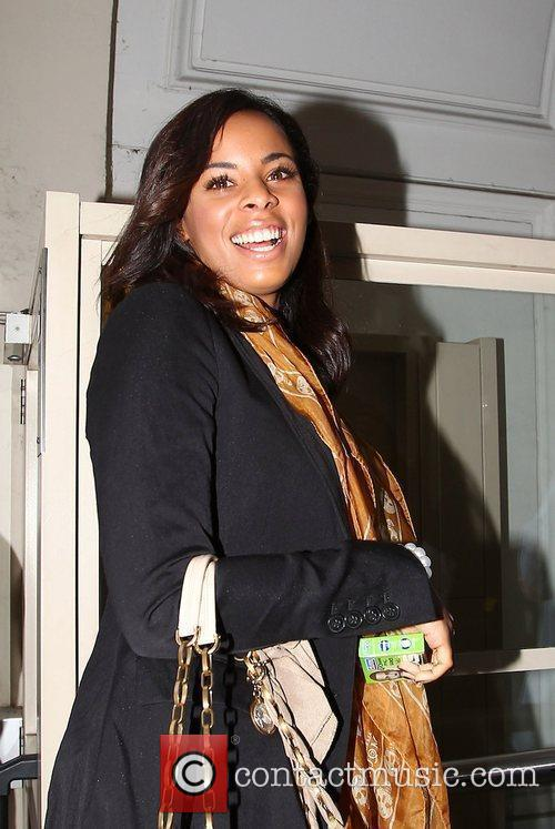 Rochelle Wiseman of The Saturdays laughing as she...