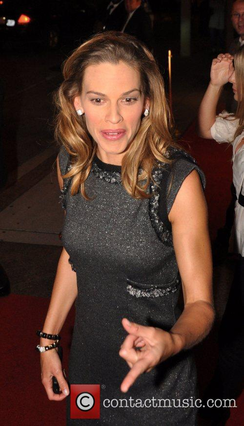Hilary Swank in town to promote the movie...