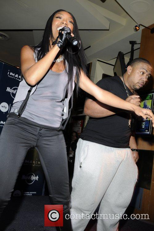 Brandy and Timbaland performing at the launch of...
