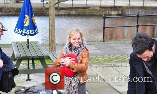 Tina O'Brien is given presents by super fan...