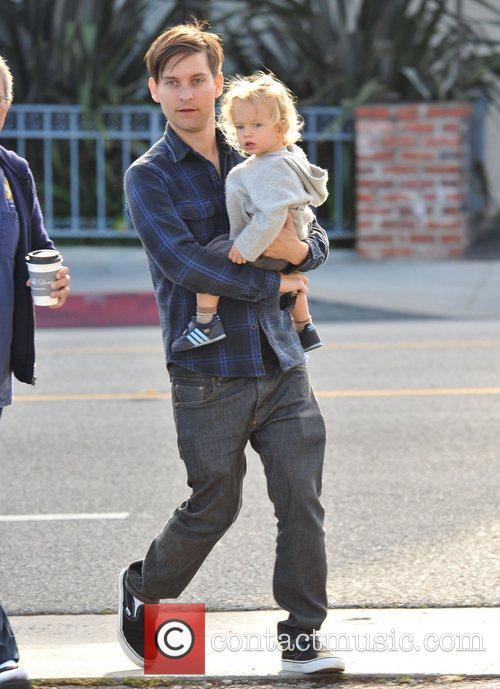 Tobey Maguire and his son, Otis Tobias, head...