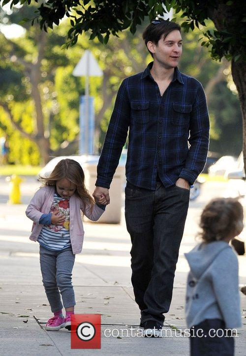 Tobey Maguire and his daughter, Ruby Sweetheart, head...