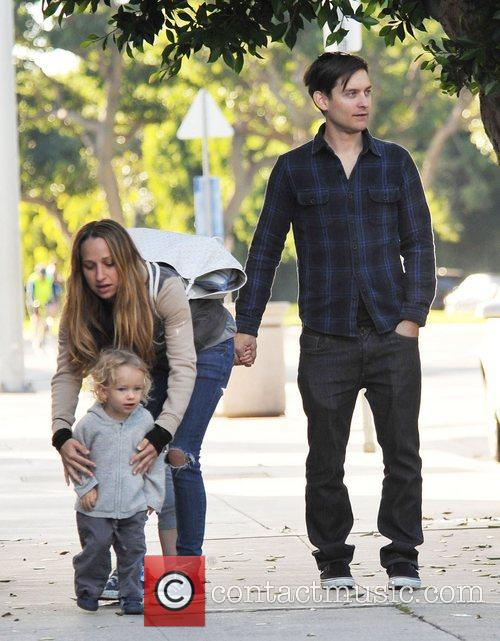 Tobey Maguire and his wife Jennifer Meyer with...