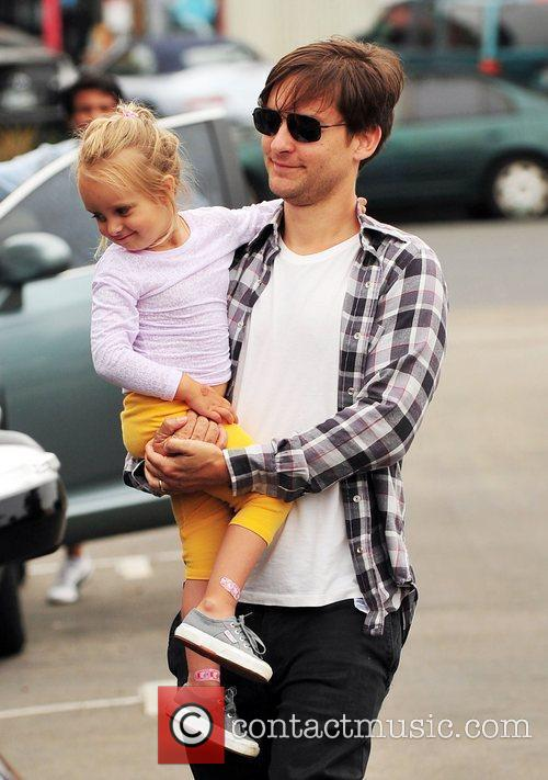 Tobey Maguire and his daughter Ruby Maguire make...
