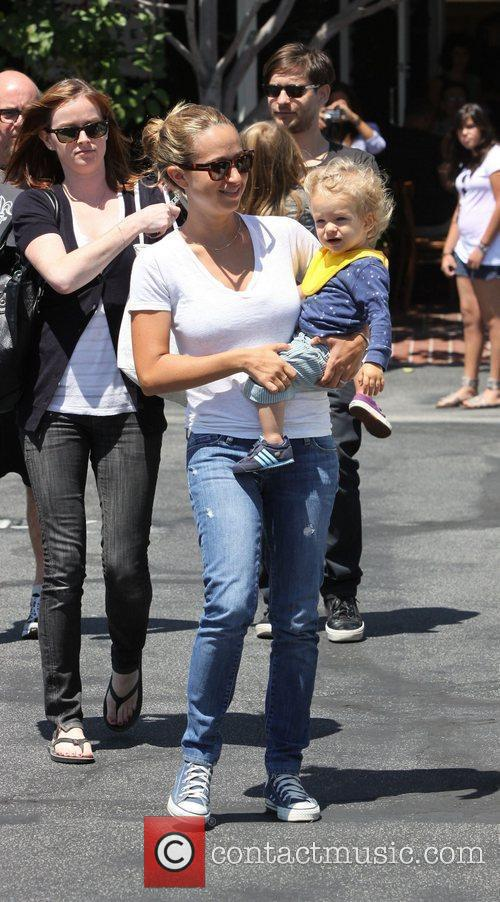 Jennifer Meyer with her daughter Ruby Sweetheart leaving...