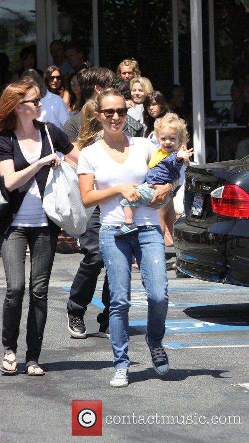 Jennifer Meyer with her son Otis Tobias Maguire,...