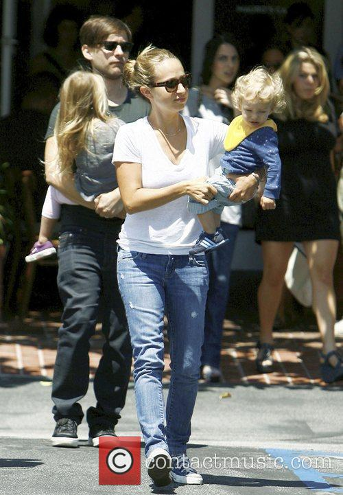 Jennifer Meyer with her son Otis Tobias Maguire,...
