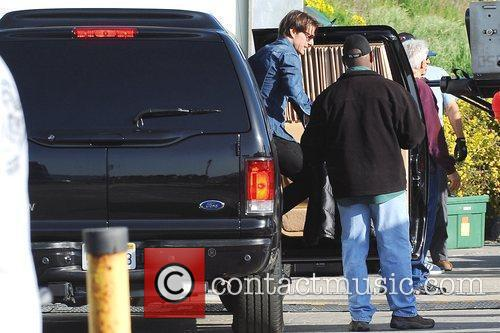 Tom Cruise arrives on the set of his...