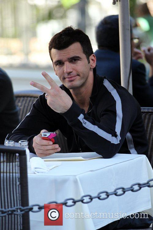 Tony Dovolani eating lunch at The Grove in...