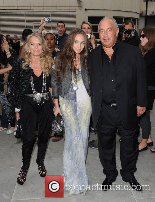 Sir Philip Green with family Topshop opens at...