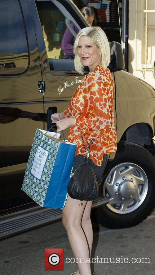 Tori Spelling was seen leaving a bookstore where...