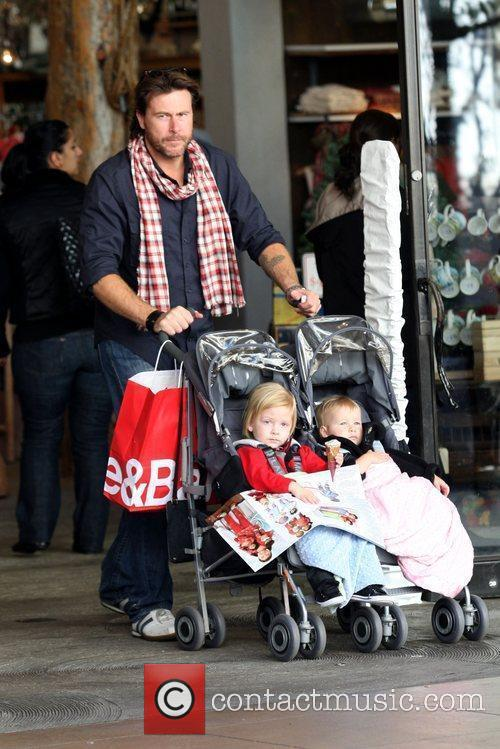Dean McDermott out shopping with his children Liam...