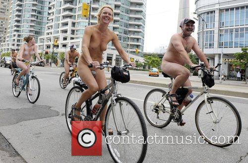 Riders at the annual World Naked Bike Ride...