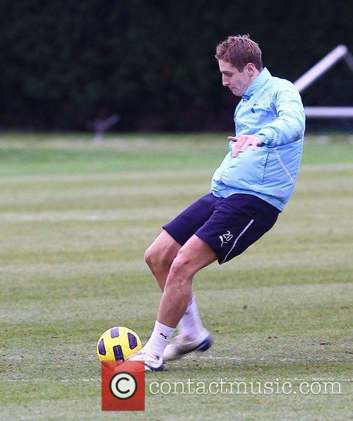 Michael Dawson  training with Tottenham Hotspur...