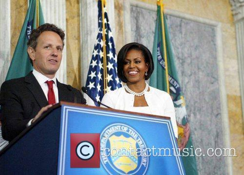 The Secretary of Treasury Timothy Geithner and Michelle...