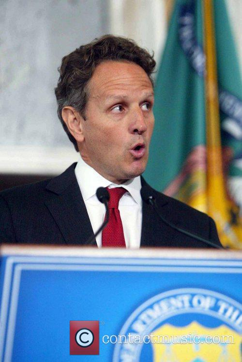 The Secretary of Treasury Timothy Geithner speaking to...