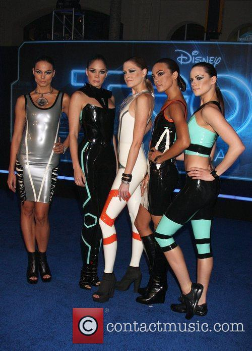 Models wearing couture designed for the Tron Legacy...